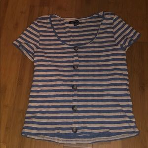 American Eagle striped cropped shirt